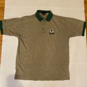 Vintage NFL Green Bay Packers Striped Polo Shirt